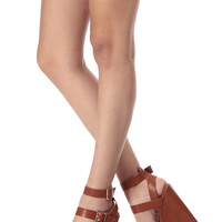 Tan Faux Leather Double Ankle Strap Wedges