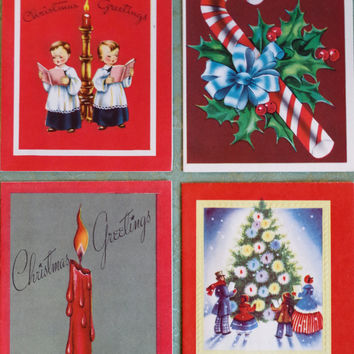 Vtg 1950s Christmas Cards- Set of 4- Bright  Lithographs By Hawthorne House- UNUSED- Candy Cane Choir Boys Christmas Tree Candle