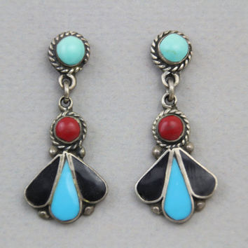 70s STERLING Navajo EARRINGS / Turquoise Coral & Onyx Drops