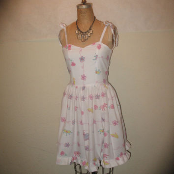 Custom Made to Order Princess Flower Crown Slipper Fan SweetHeart Geekery Pin Up Ruffled Halter Summer Dress