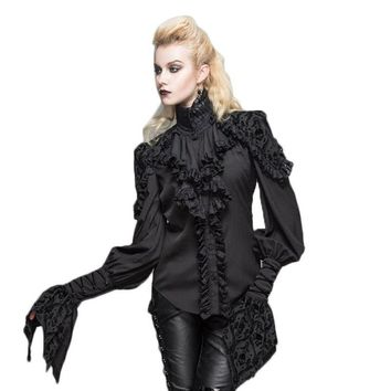 Steampunk Gothic Stand Collar Flower Side Top Blouse