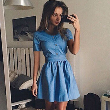 2017 Trending Fashion Jeans Round Necked Short Sleeve Button One Piece Dress _ 11825