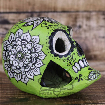Dia De Los Muertos Sugar Skull - Paper Mache Skull - Halloween Decor - Calavera - Mexican Folk Art - Hand Painted Skull - Zentangle Art