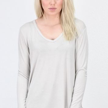Loose Fit V-neck L/S Basic {L. Taupe}