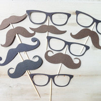 14 Sunglasses Mustache (nerd, Little man) Cupcake Toppers