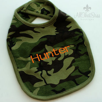 Personalized Camo Bib - Baby Shower Gifts - Baby Boys or Girls - Camouflage - Monogrammed Baby Gifts - Embroidered - Keepsake