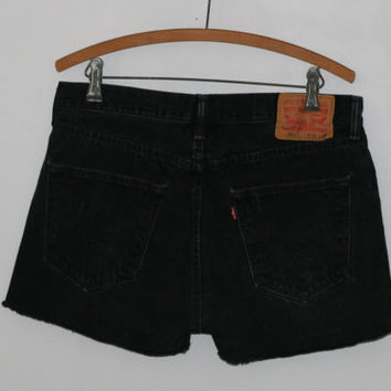 "High Waist Denim Shorts Levis 501 33"" 34"" cut offs Faded Blak Wash Distressed grunge festival boho hipster gypsy Frayed Fringe Jeans 10 12"