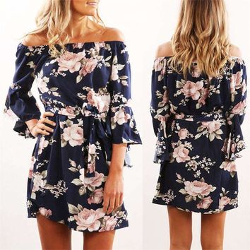 Sexy Off Shoulder Floral Print Chiffon Dress Boho Style Short Party Beach Maternity Dress