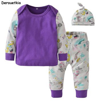 Newborn Toddler Baby Girl Clothing Set Long Sleeve Mermaid Printing T-shirt+Pants+Cap Cotton Cute 3pcs Baby Boy Clothes