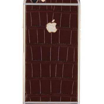 Hadoro Iphone 6S Alligator Brown Gold rose diamond