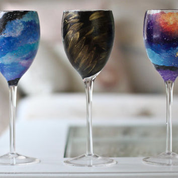 Set of Halloween Wine Glasses: Galaxy Coven Glasses