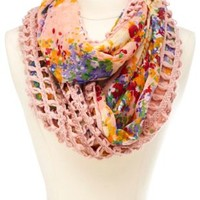 Crochet & Floral Print Infinity Scarf by Charlotte Russe - Pink Multi