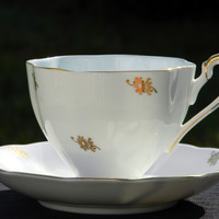 Queen Anne Chintz Tea Cup and Saucer, Bone China English Teacup With Blue Interior  J-1550