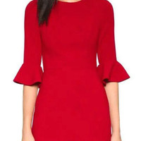 Flared Sleeve Ruffle Red Dress