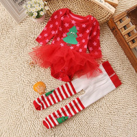 Christmas Girls Baby Panties Sets Cotton Long Sleeve Jumpsuits Rompers = 1929986628