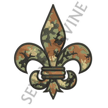 EMBROIDERY Design CAMO FLEUR de lis 4x4 5x7 6x10, 8 Formats Instant Download
