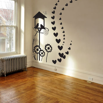 Vinyl Wall Decal Sticker Birdhouse with Hearts #1036