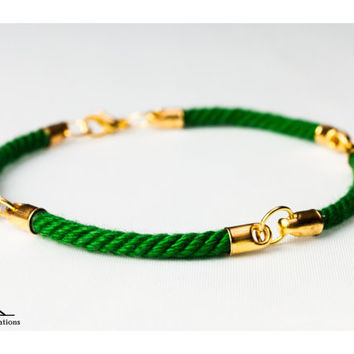Four quarter nautical rope bracelet - Green