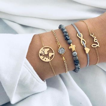 5 PCS/Set Boho Earth LOVE Heart Multilayer Bracelets for Women Crystal Charm Stone Beads Turtle Pendant Gold Bangle Cuff Jewelry