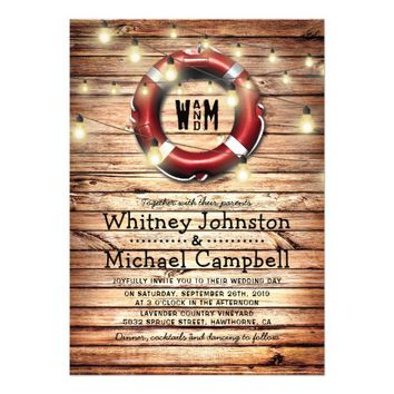 Rustic Nautical Beach Theme Twinkle Lights Wedding Card