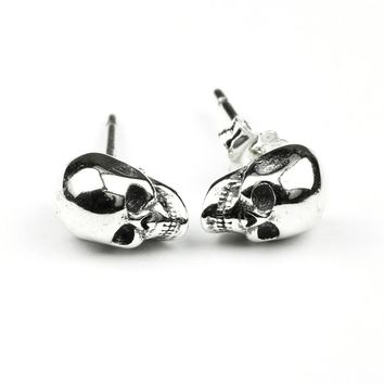 925 Sterling Silver Skull Earrings Studs Set Small Rock Punk Gothic Vintage Jewelry For Men And Brinco Masculino