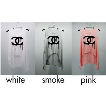 CHANEL Dripping COCO CHANEL Tank Top high waist women handmade silk screen printing