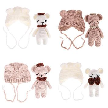 Newborn Baby Knit Beanie Cap with Bear Toy Toddler infant Bear Photo Prop Photography Props Baby 2pcs Hat Doll Toy Costume