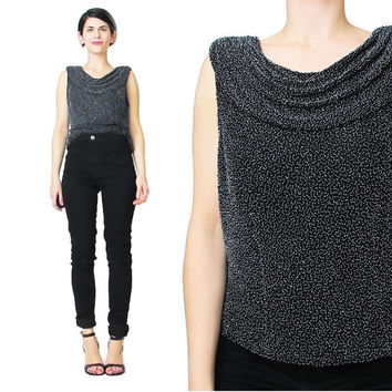 90s Beaded Evening Top Black Silk Beaded Tank Draped Cowl Neck Top Sleeveless Blouse Open Back Top Embellished Fancy Party Top (S)