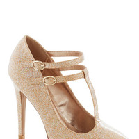 Glitter Miss Sunshine Heel in Gold