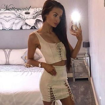 NATTEMAID Sexy 2 Piece Set Women Faux Suede Crop Top Mini Skirt Bodycon Zipper Split Womens Suit Elegant Club Party Two Piece