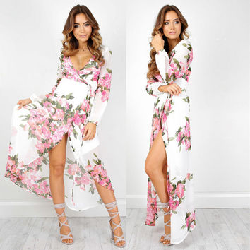 White Floral Print V-Neck Long Sleeve High Split Maxi Dress