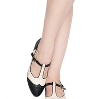 Ione T-Strap Low Heel in Black