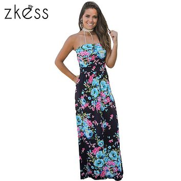 Zkess 5colors Off Shoulder Maxi Dress with Pockets women summer printed Boho style Holiday beach long dresses vestidos LC61614