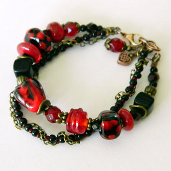 Carmen Red Black Bohemian Lampwork bracelet Red Boho beaded bracelet Heart lampwork focal bead Red winter jewelry Handmade Gift for Her OOAK