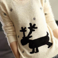 Deer Print Knitted Sweater