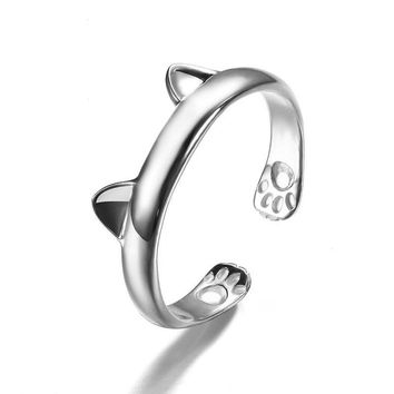 JEXXI 925 Sterling Silver Lady Rings Cute Cat Animals Party Ring 1 PCS Fashion Jewelry for Women Adjustable Accessories