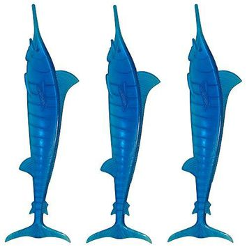 Royer 6quot Plastic Marlin Swordfish Tropical Swizzle Sticks Drink Stirrers Transparent Blue 24 ct  Made in the USA