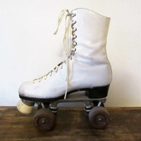 Vintage Wms White Red Wing Riedell Roller Derby Skates Sz 6.5