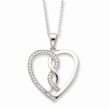 Sterling Silver CZ Hearts Joined Together Necklace