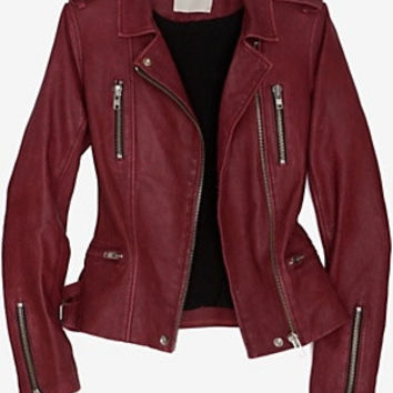 "Iro ""BARBY"" Leather Jacket in Bordeaux - swankblue"