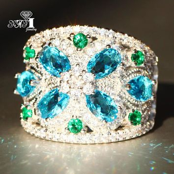 YaYI Jewelry Fashion  Princess Cut Huge 4.4 CT Sea Blue Zircon Silver Color Engagement Rings wedding Rings Party Rings