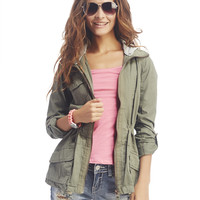 Hooded Roll-Sleeve Anorak Jacket | Wet Seal