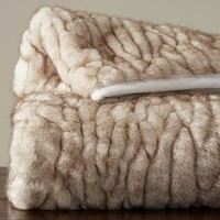 Gathered Faux Fur Throw - Ivory Tipped