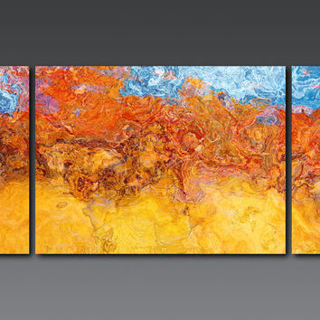 "Large abstract art triptych on stretched canvas, 30x60 giclee canvas print in red and yellow, from abstract painting ""Can't Take the Heat"""
