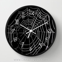 Modern Cob Web Wall Clock in Natural Wood, Black, or White Frames Onyx Man Cave Gift for Him Unique Dark Spider Halloween Nightmare Creepy