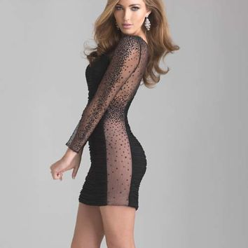 Black Beaded Sheer Long Sleeve Fitted Short Homecoming Dress - Unique Vintage - Prom dresses, retro dresses, retro swimsuits.