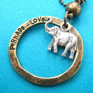 Elephant Animal Pendant Hoop Necklace in Silver on Bronze