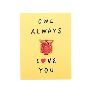 Owl Love Card + Pin