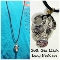 GOTH GAS MASK Prepper Jewelry Necklace 36 inch Black Paracord with Beer Tab Closure Graduation Jewelry for Him or Her/ Mother's Day Gift
