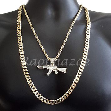 "MENS ICED OUT AK47 CHARM ROPE CHAIN DIAMOND CUT 30"" CUBAN CHAIN NECKLACE SET G33"